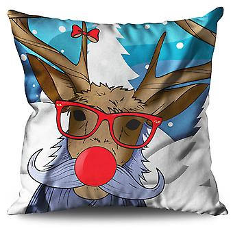 Christmas Deer Red Linen Cushion 30cm x 30cm | Wellcoda