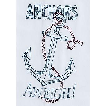 Anchors Aweigh Embroidered Flour Sack Kitchen Dish Towel