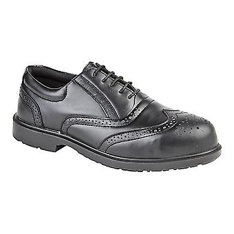 Grafters Mens Uniform Perforated Leather Non-Metal Safety Shoes