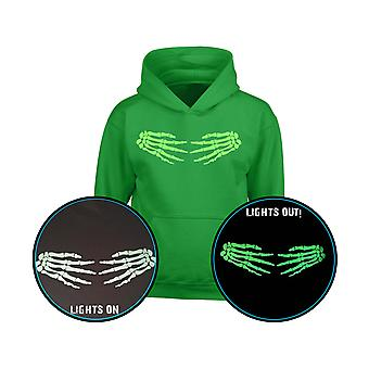 Skeleton Hands Side GLOW IN THE DARK Halloween Kids Hoodie 10 Colours (S-XL) by swagwear
