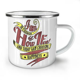 I Choose Happiness NEW WhiteTea Coffee Enamel Mug10 oz | Wellcoda