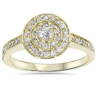 1 / 2ct anel de Halo duplo noivado 10K ouro amarelo