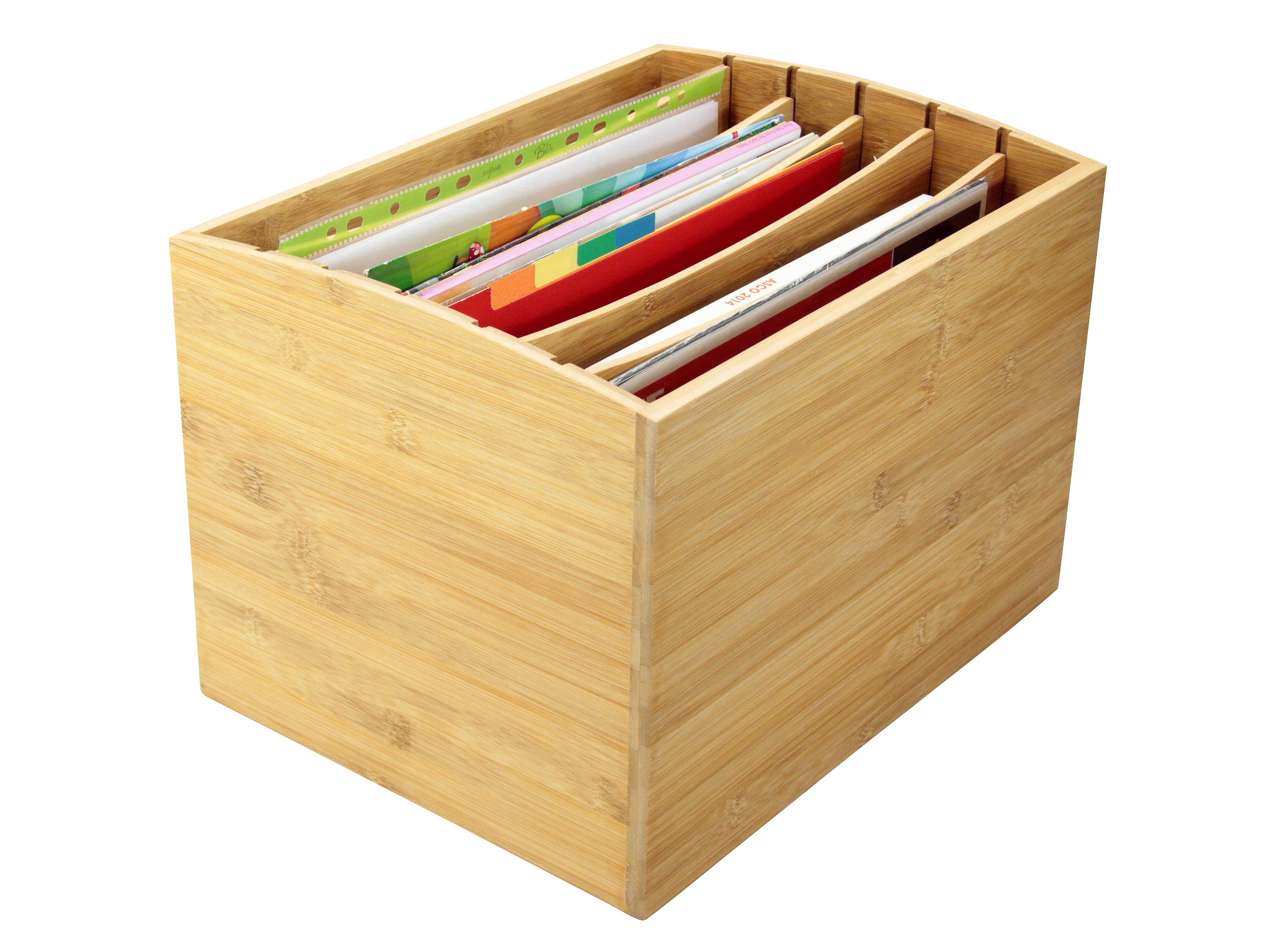 Woodquail Bamboo Desktop Literature File Sorter A4 Document Organiser Storage