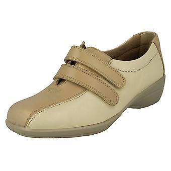Damer lätt B krok och ögla fäst platta skor Chantelle 2 - Beige/ljus Beige läder - UK storlek 3 EE - EU storlek 35,5 - US storlek 5