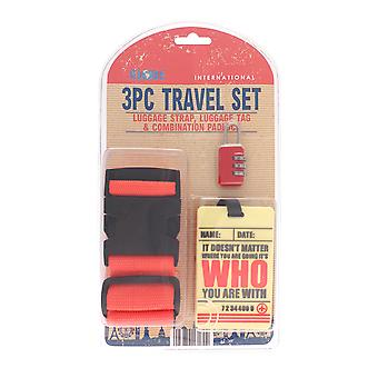 Globetrek Luggage Strap and Tag Set, Red