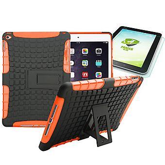 Hybridi ulkouima suojaava case Orange iPad 2 edessä + 0,4 H9 karkaistu lasi
