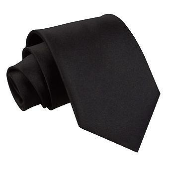 Svart slätt Satin Extra långa slips