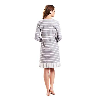 1183545-12554 Femmes-apos;s Smart Casual Cloud Grey Striped Night Gown Robe de nuit
