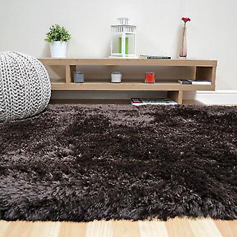 Pluszowe dywany Shaggy w ciemny czekoladowy brąz
