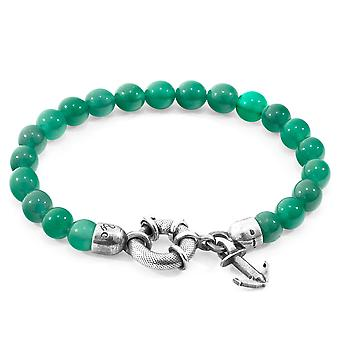 Anchor & Crew Green Agate Port Silver and Stone Bracelet