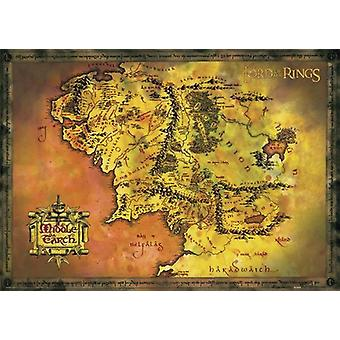 LOTR poster map of Middle-Earth QF