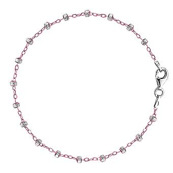 Pink And White Saturn Cable Style Chain Anklet In Sterling Silver