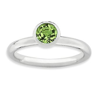 925 Sterling Silver Bezel Polished Rhodium plated Stackable Expressions High 5mm August Crystal Ring Jewelry Gifts for W
