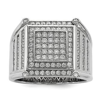 925 Sterling Silver Pave Rhodium plated and CZ Cubic Zirconia Simulated Diamond Brilliant Embers Mens Ring Jewelry Gifts