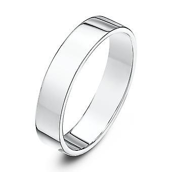 Star Wedding Rings 18ct White Gold Light Flat Court Shape 4mm Wedding Ring
