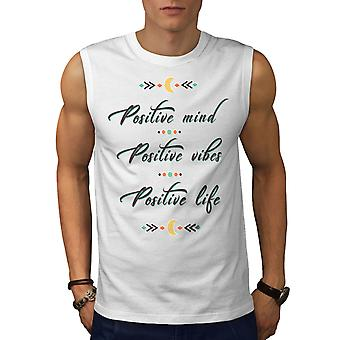 Mente positiva homens WhiteSleeveless t-shirt | Wellcoda
