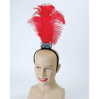 Red Flapper Headband / 3 Feathers.