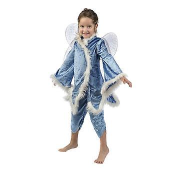Blå Fe Tinker Bell jenter kostyme vinter fairy barn drakt