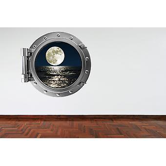 Full Colour Moon and Sea Porthole Wall Sticker