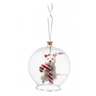 Steiff glass bulb with mouse with candy cane ornament 8 cm