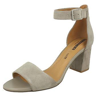 Ladies Clarks Heeled Sandals Deva Mae - Sage Suede - UK Size 7.5D - EU Size 41.5 - US Size 10M