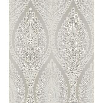Grandeco Life Karla Taupe Metallic White Silver Glitter Vinyl Damask Wallpaper