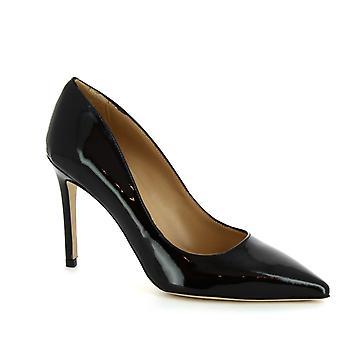 Leonardo sko kvinners håndlaget høye hæler pumper i svart patent lær