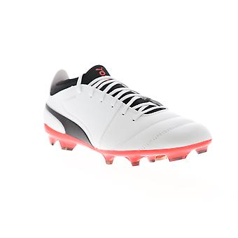 Puma One 17.3 FG  Mens White Leather Athletic Soccer Cleats Shoes