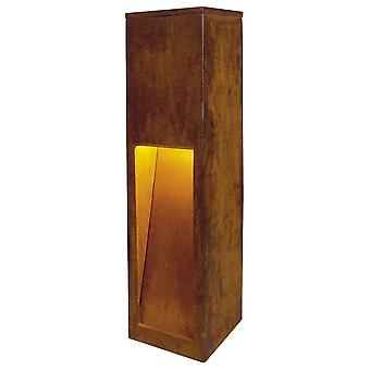 SLV Rusty 50cm Square Rusted Iron Bollard With Sloted Light