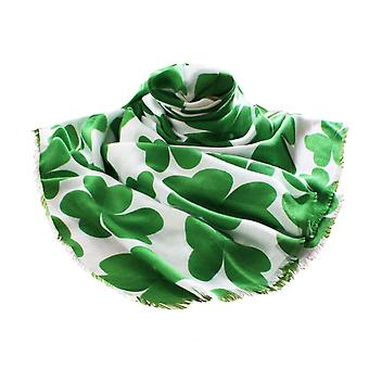 Eternal Collection Irish Shamrock Twilled Polyester White And Green Large Oblong Scarf