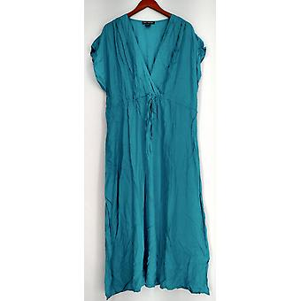 Kate & Mallory Dress Maxi with Tie Front & Faux Wrap Aqua Blue A431563