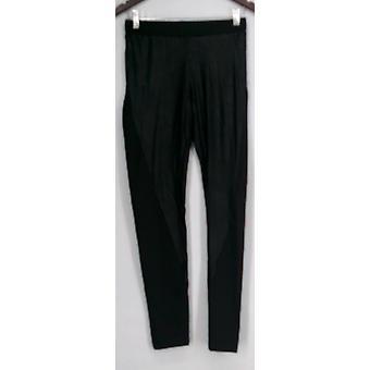 Kate & Mallory Leggings Distressed Leggings w/ Knit Panel Sides Black A420645