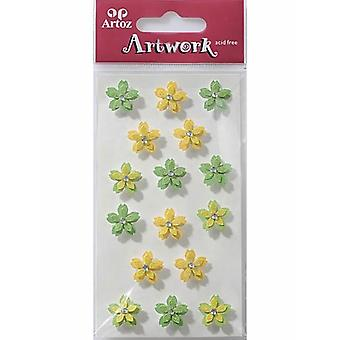 Yellow And Green Flowers Craft Embellishment By Artoz