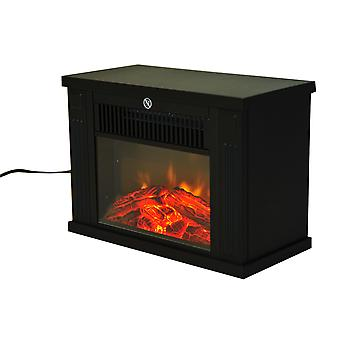 HOMCOM 1.2KW Freestanding Electric Fireplace Fire Wood Log Burning Effect Flame Vintage Heater Stove Living Room Tempered Glass View