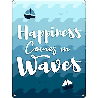 Grindstone Happiness Comes In Waves Mini Tin Sign