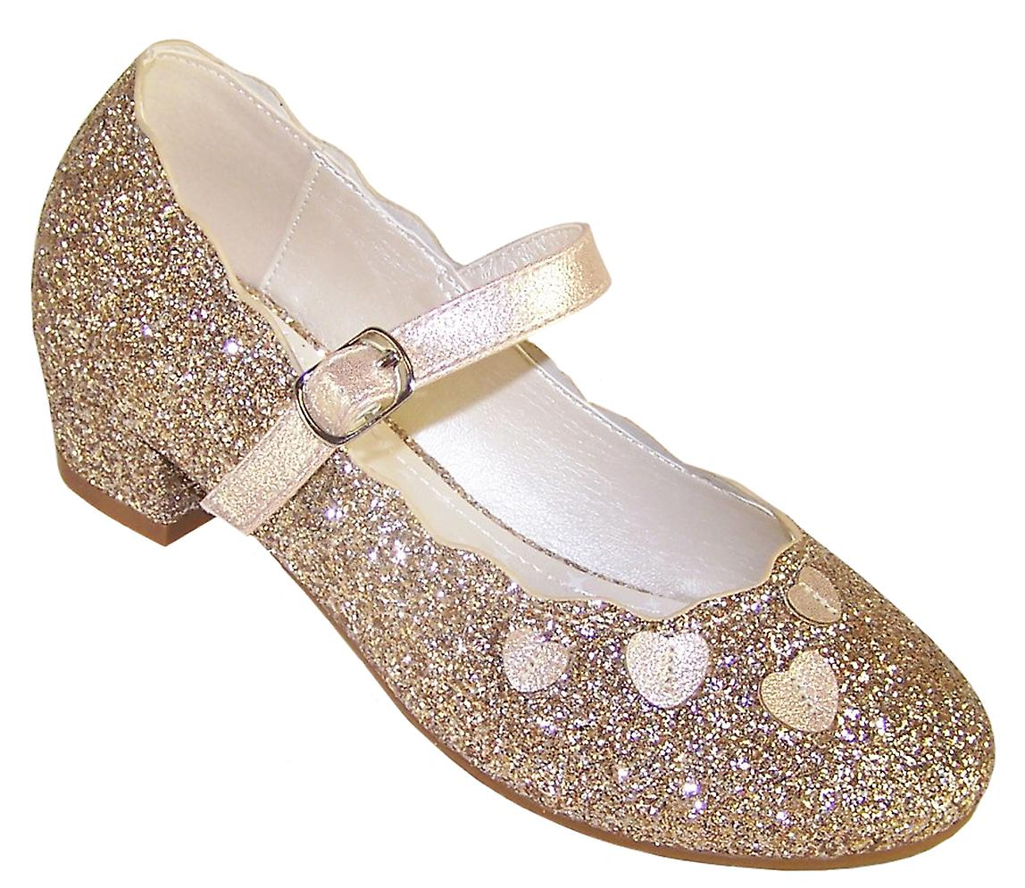 Girls gold sparkly heeled party shoes