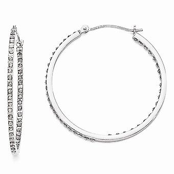 14k White Gold Polished Diamond Fascination Round Hinged Hoop Earrings Measures 36x2mm Jewelry Gifts for Women