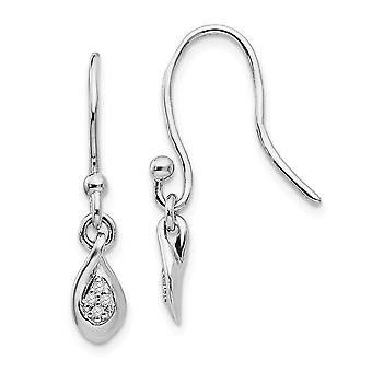 925 Sterling Silver Dangle Polished White Ice Diamond Earrings Measures 25x6mm Wide Jewelry Gifts for Women