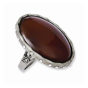 Tru Tenn Carnelian med kristaller Ring Smycken Gåvor för kvinnor - Ring Storlek: 6,5 till 7,5
