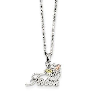 925 Sterling Silber poliert Geschenk boxed Frühling Ring und 12 k Schmetterling Glauben Halskette - 18 Zoll