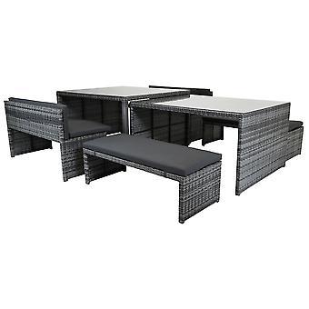 Charles Bentley rechteckige Rattan Esszimmer Set Glas Tisch tisch und Bänke grau