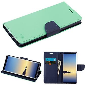 MYBAT Petrol grün Muster/dunkelblau Liner MyJacket Brieftasche (mit Kartenschlitz)(84B) für Galaxy Note 8