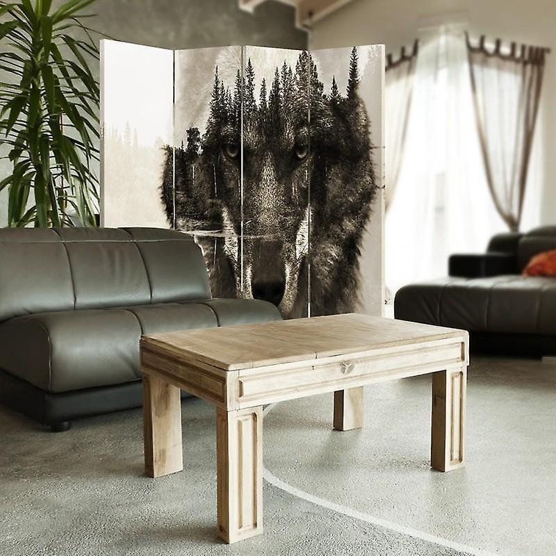 Diviseur de chambre, 4 panneaux, toile, loup gris sur un fond de forêt - Brown