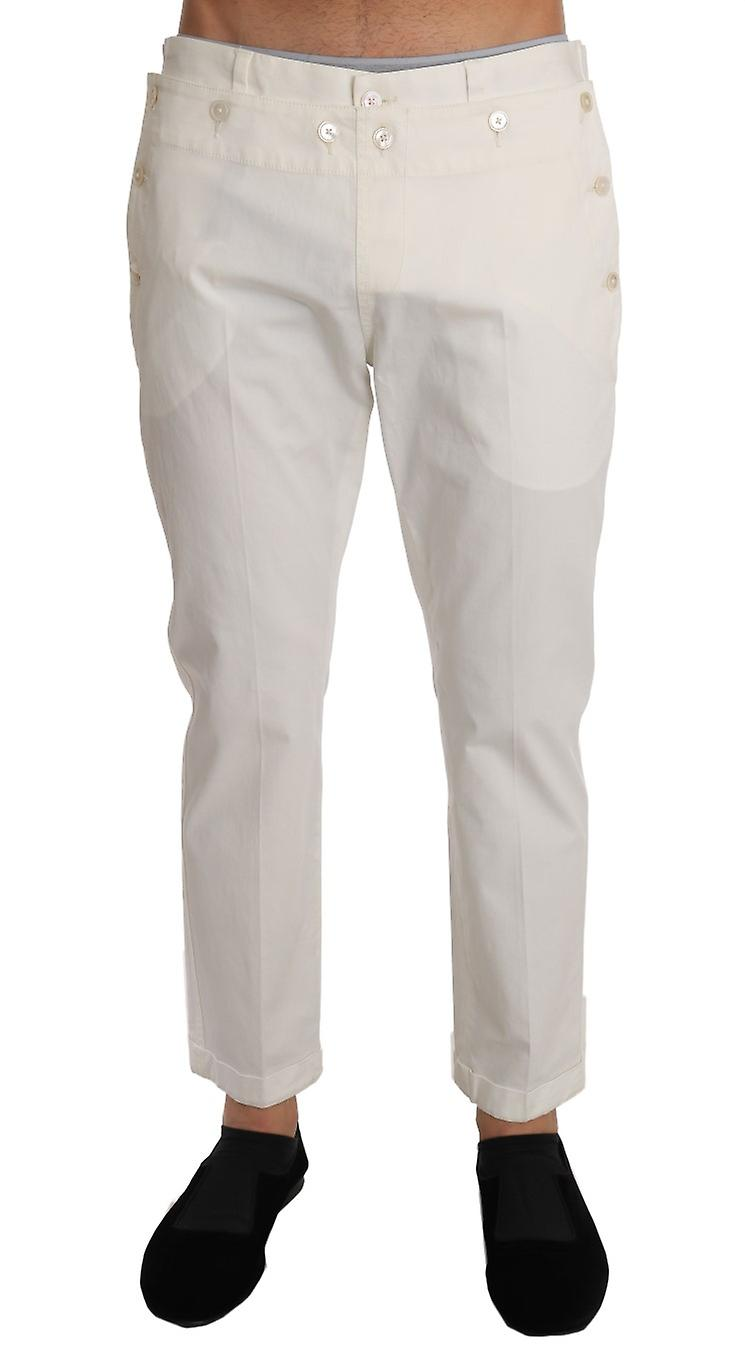 White Cotton Stretch Casual Trousers Pants