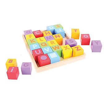 Bigjigs Toys Educational Wooden ABC Blocks Words Letters Alphabet Learn