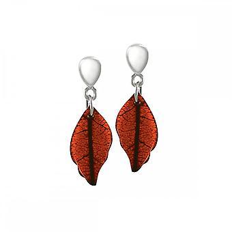 Eeuwige collectie Laurel gepolijst overeenkomstig oranje blad zilveren Toon Drop Clip op oorbellen