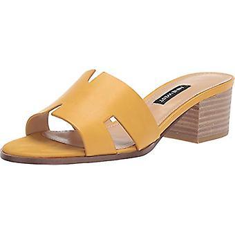 Yhdeksän West naisten Aubrey nahka avoin toe rento mule sandaalit