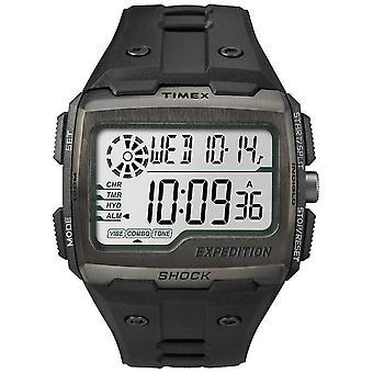 Timex Mannen Grid Shock Alarm Chronograph All Black TW4B02500 Horloge