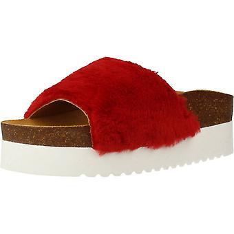 Gelbe Sandalen fluffy rote Farbe