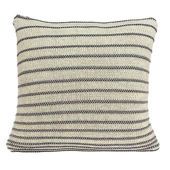 Casual Square Tan and Gray Stripe Accent Pillow Cover